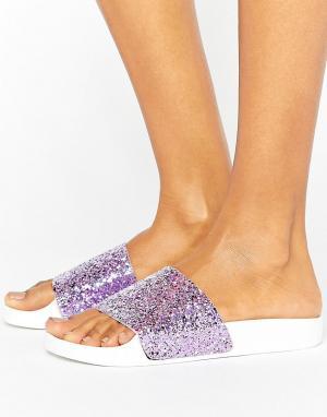 THEWHITEBRAND Розовые сандалии с блестками на плоской подошве WhiteBrand. Цвет: розовый