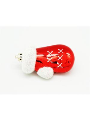 Украшение подвесное из пластика варежки красные с белым, 4 шт  арт.16008 (ДШВ 0,05Х0,16Х0,02 м.) Яркий Праздник. Цвет: красный
