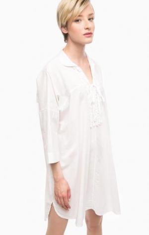 Белое платье из хлопка свободного кроя THINK CHIC. Цвет: белый