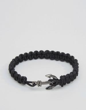ASOS Веревочный браслет с якорем. Цвет: черный