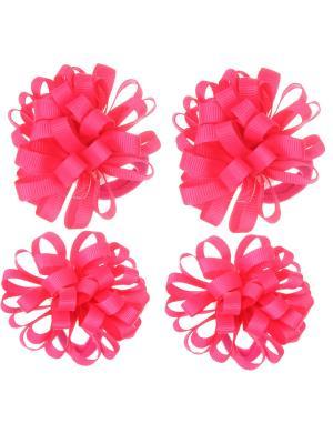 Банты из ленты на резинке, розовые, набор 4 шт Радужки. Цвет: розовый