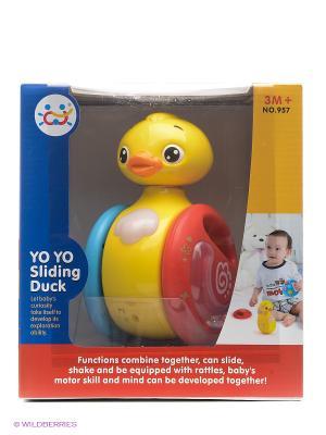 Игрушка Утка-неваляшка музыкальная HUILE. Цвет: желтый, голубой, красный