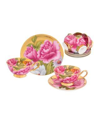 Чайный набор Пионы на золоте Elan Gallery. Цвет: зеленый, белый, розовый