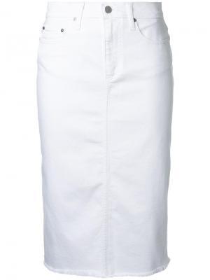 Джинсовая юбка-карандаш Cult Nobody Denim. Цвет: белый