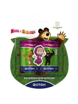 Батарейки D Маша и медведь + наклейка, цена указана за 1 шт, продаются упаковкой Фотон. Цвет: зеленый