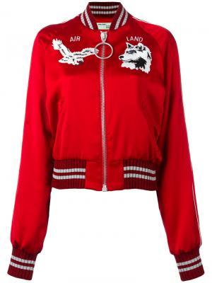 Атласная куртка-бомбер Greenland Off-White. Цвет: красный