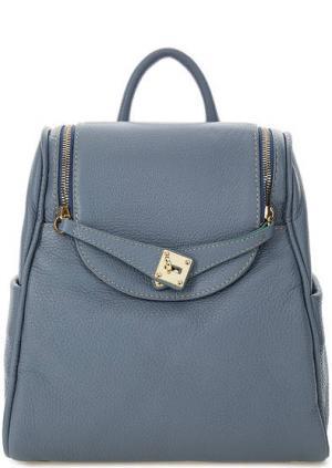 Синий рюкзак из зерненой кожи Bruno Rossi. Цвет: синий