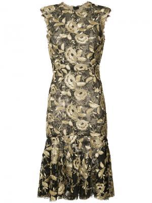 Платье с цветочным узором Monique Lhuillier. Цвет: чёрный