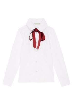 Рубашка с бордовым галстуком President School. Цвет: белый