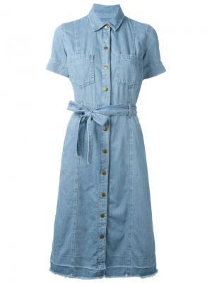 Джинсовое платье с поясом Current/Elliott. Цвет: синий