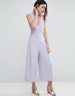 ASOS Комбинезон с юбкой-брюками и отделкой в стиле оригами. Цвет: серый