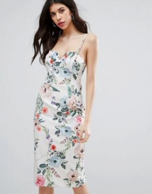Talulah Платье миди с цветочным принтом Melrose. Цвет: мульти