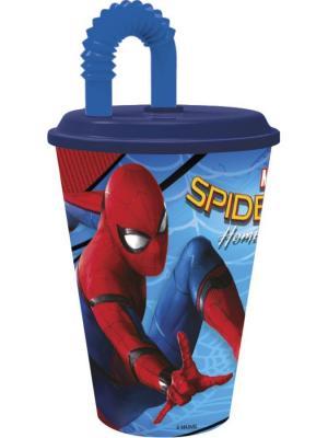 Стакан пластиковый с соломинкой и крышкой (спортивный, 430 мл). Человек-паук 2017 Stor. Цвет: красный, темно-синий