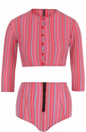 Купальный комплект с накидкой, бра и плавками-бикини Lisa Marie Fernandez. Цвет: разноцветный