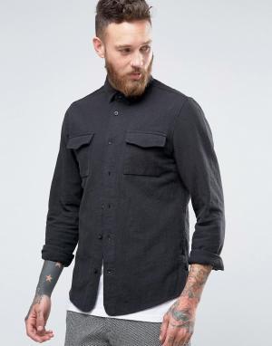 Hoxton Shirt Company Рубашка слим. Цвет: серый