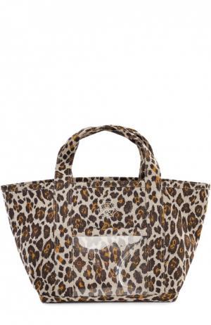 Текстильная сумка Ami с леопардовым принтом Charlotte Olympia. Цвет: леопардовый