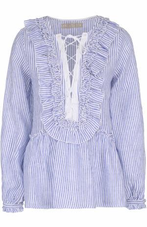 Льняная блуза с оборками и вырезом на шнуровке 120% Lino. Цвет: белый