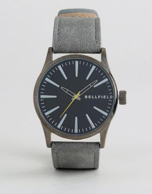 Bellfield Часы с черным циферблатом и серым ремешком. Цвет: черный