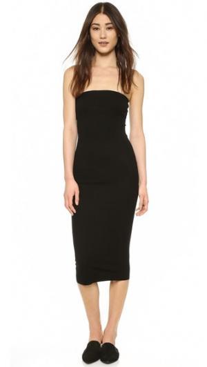 Платье без бретелек из ткани в рубчик Enza Costa. Цвет: голубой