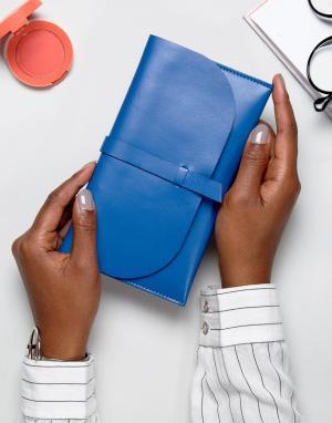 ASOS Кожаный кошелек. Цвет: синий