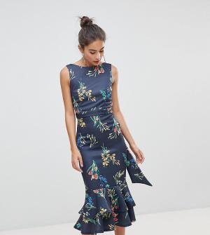 True Violet Платье миди с цветочным принтом и оборками. Цвет: мульти