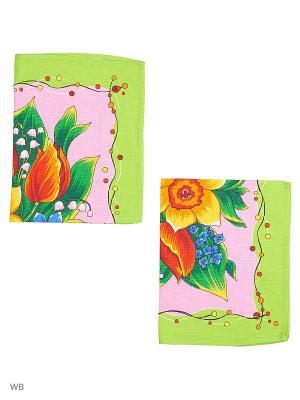 Набор полотенец вафельных кухонных Римейн. Цвет: зеленый, розовый