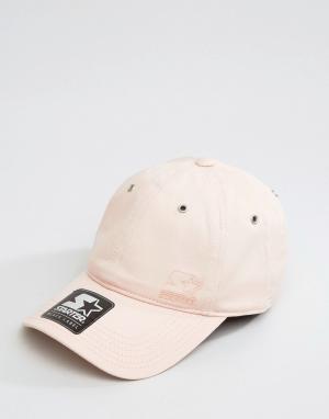 Starter Розовая бейсболка с черным логотипом Pitcher. Цвет: розовый
