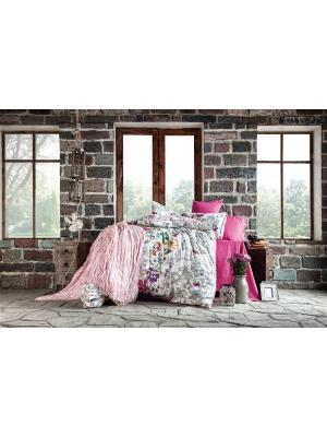 Комплект постельного белья LIMMA сатин, 200ТС, 100% хлопок, евро ISSIMO Home. Цвет: розовый