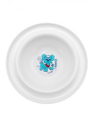 Тарелка Веселые животные от 6 мес. с присоской LUBBY. Цвет: голубой