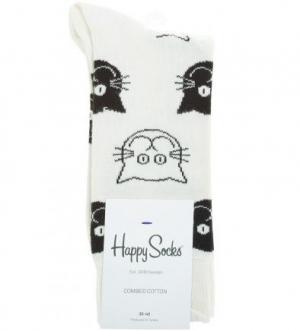 Носки из хлопка Happy Socks. Цвет: белый