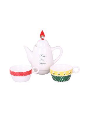 Набор: чайник, чашка 2 шт., 500 мл. 8,5*22 см. PATRICIA. Цвет: белый, красный