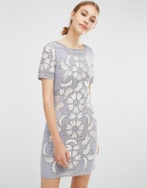 Frock and Frill Бархатное цельнокройное платье. Цвет: серый