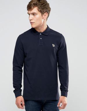 PS by Paul Smith Темно-синяя футболка‑поло слим с длинными рукавами и логотипом Sm. Цвет: темно-синий