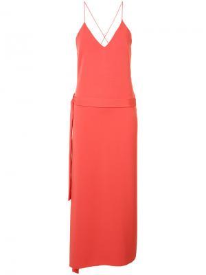 Платье-комбинация с лямками крест-накрест Alexis. Цвет: красный