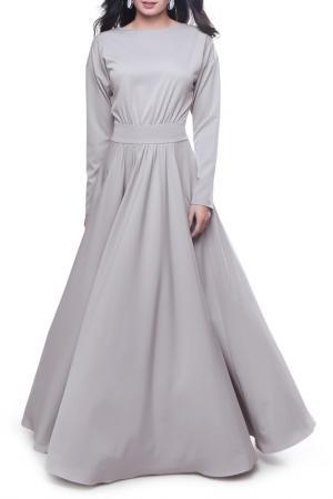 Длинное платье с горловиной Лодочка Olivegrey. Цвет: жемчужный