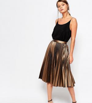 Closet London Плиссированная юбка миди с покрытием. Цвет: коричневый