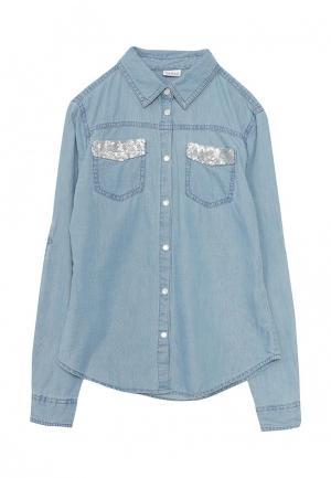 Рубашка джинсовая Blukids. Цвет: голубой