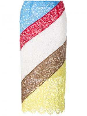 Юбка колор-бок Preen By Thornton Bregazzi. Цвет: многоцветный