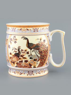 Кружка Павлин на бежевом Elan Gallery. Цвет: бежевый, белый, коричневый
