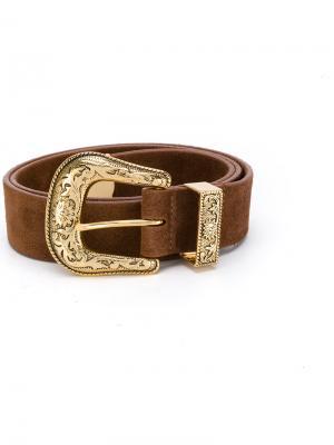 Ремень с золотистой пряжкой B-Low The Belt. Цвет: коричневый