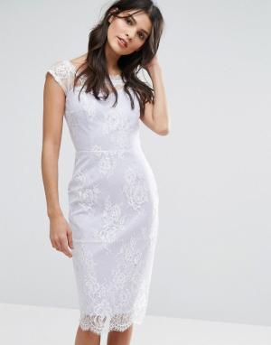 Paper Dolls Платье с полупрозрачным кружевным верхним слоем. Цвет: фиолетовый