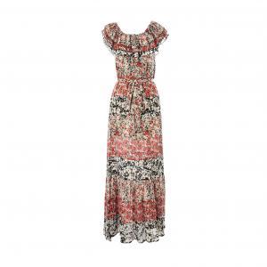 Платье длинное, с короткими рукавами, рисунком RENE DERHY. Цвет: наб. рисунок красный