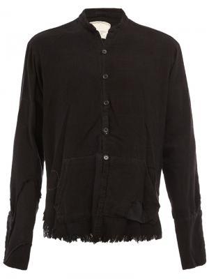 Рубашка с воротником-мандарин и бахромой Greg Lauren. Цвет: чёрный