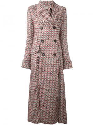 Удлиненное двубортное пальто Alessandra Rich. Цвет: красный