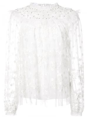Sheer floral embroidered blouse Needle & Thread. Цвет: белый