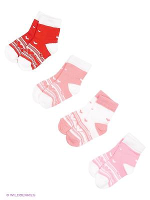 Носки, 4 пары Гамма. Цвет: розовый, белый, красный, коралловый