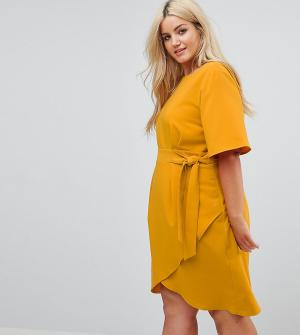 Closet London Plus Платье с поясом и рукавами-кимоно. Цвет: оранжевый