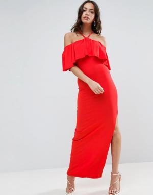 ASOS Платье макси с лифом-бандо и оборками. Цвет: красный