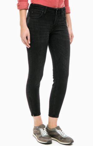 Черные джинсовые капри Lee. Цвет: черный
