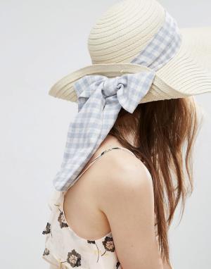 ASOS Соломенная шляпа с лентой в клеточку. Цвет: коричневый